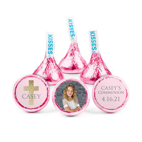 Personalized Bonnie Marcus Girl First Communion Glitter Cross Hershey's Kisses (50 pack)