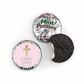 Personalized Girl First Communion Glitter Cross Pearson's Mint Patties
