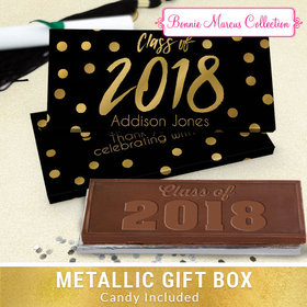 Deluxe Personalized Graduation Dots Chocolate Bar in Metallic Gift Box