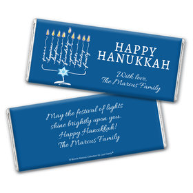 Personalized Bonnie Marcus Hanukkah Lights Chocolate Bar Wrapper Only