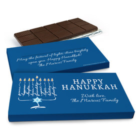 Deluxe Personalized Hanukkah Lights Chocolate Bar in Gift Box (3oz Bar)