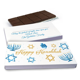 Deluxe Personalized Hanukkah 8 Crazy Nights Chocolate Bar in Gift Box (3oz Bar)