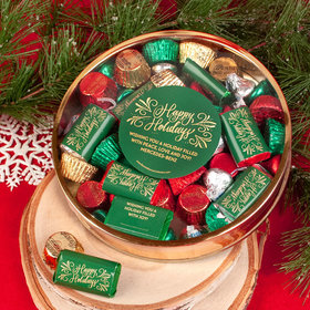 Personalized Shimmering Happy Holidays Large Plastic 1lb Tin with Hershey's Miniatures, Hershey's Kisses & Reese's Peanut Butter Cups