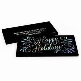 Deluxe Personalized Happy Holidays Flourish Chocolate Bar in Metallic Gift Box