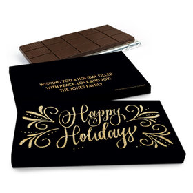 Deluxe Personalized Bonnie Marcus Christmas Happy Holidays Flourish Chocolate Bar in Gift Box (3oz Bar)
