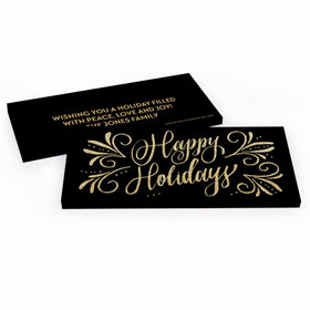 Deluxe Personalized Happy Holidays Flourish Chocolate Bar in Gift Box