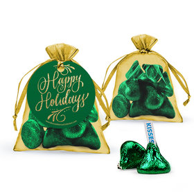 Bonnie Marcus Happy Holidays Flourish Hershey's Kisses in Organza Bags with Gift Tag