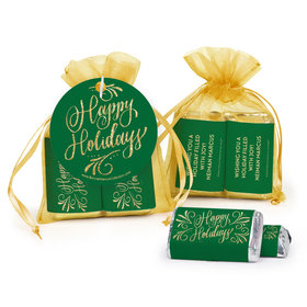 Personalized Happy Holidays Flourish Hershey's Miniatures in Organza Bags with Gift Tag