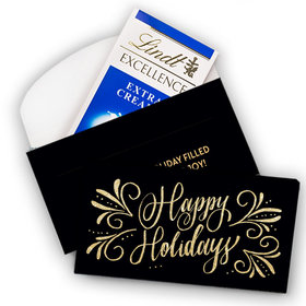 Deluxe Personalized Christmas Happy Holidays Flourish Lindt Chocolate Bar in Gift Box (3.5oz)