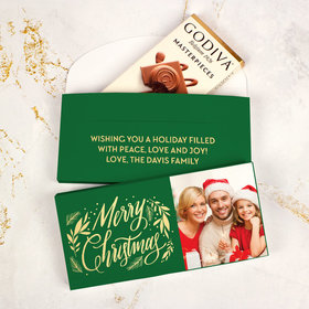 Deluxe Personalized Bonnie Marcus Christmas Festive Leaves Godiva Chocolate Bar in Gift Box