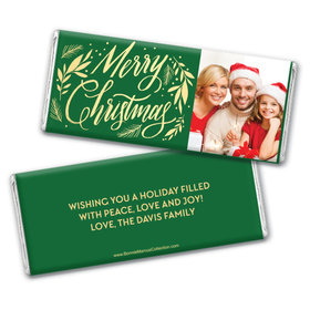Personalized Bonnie Marcus Festive Leaves Photo Chocolate Bar & Wrapper