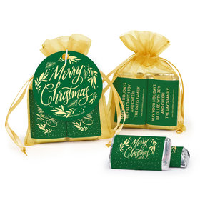 Personalized Christmas Festive Leaves Hershey's Miniatures in Organza Bags with Gift Tag