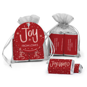 Personalized Christmas Joy to the World Hershey's Miniatures in Organza Bags with Gift Tag