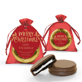 Personalized Bonnie Marcus Christmas Joyful Gold Milk Chocolate Covered Oreo in Organza Bags with Gift Tag