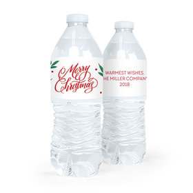 Personalized Bonnie Marcus Christmas Holly-day Joy Water Bottle Labels (5 Labels)