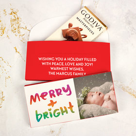 Deluxe Personalized Bonnie Marcus Christmas Very Merry Photo Godiva Chocolate Bar in Gift Box