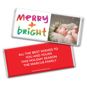 Personalized Bonnie Marcus Christmas Very Merry Photo Chocolate Bar & Wrapper