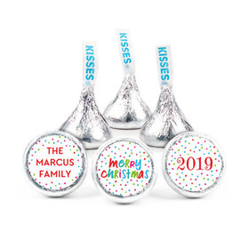 """Personalized Bonnie Marcus Christmas Polkadot Party 3/4"""" Stickers (108 Stickers)"""