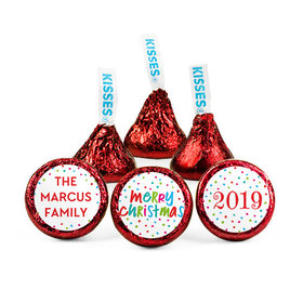 Personalized Bonnie Marcus Christmas Polkadot Party Hershey's Kisses (50 pack)