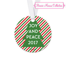 Personalized Round Bonnie Marcus Christmas Ho Ho Ho's Favor Gift Tags (20 Pack)