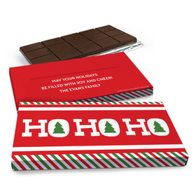Deluxe Personalized Christmas Ho Ho Ho's Chocolate Bar in Gift Box (3oz Bar)