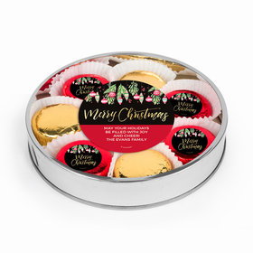 Personalized Christmas Ornaments Large Plastic Tin with Chocolate Covered Oreo Cookies