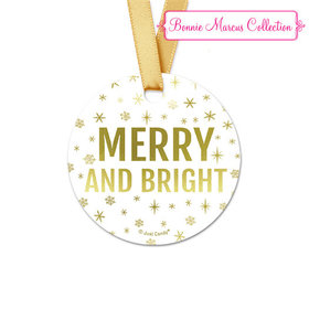 Personalized Round Bonnie Marcus Christmas Glitter Favor Gift Tags (20 Pack)