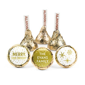 Personalized Bonnie Marcus Christmas Glittery Gold Hershey's Kisses (50 pack)