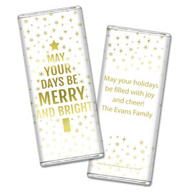 Personalized Bonnie Marcus Christmas Glittery Gold Chocolate Bar Wrapper Only