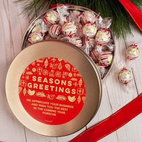 Personalized Christmas Season's Greetings Tin with Lindt Truffles (approx 45 pcs)