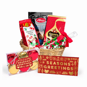 Personalized Christmas Season's Greetings Candy Gift Basket