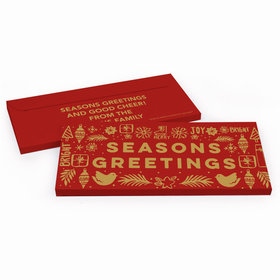 Deluxe Personalized Christmas Seasons Greetings Candy Bar Favor Box