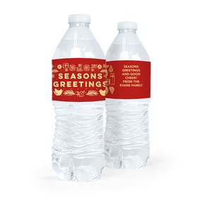 Personalized Bonnie Marcus Christmas Seasons Greetings Water Bottle Sticker Labels (5 Labels)