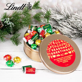 Personalized Seasons Greetings Tin with Lindt Truffles (approx 45 pcs)