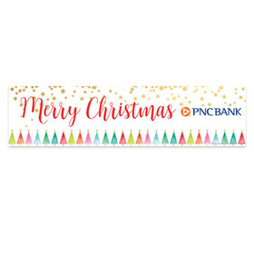 Personalized Merry Christmas Shimmering Pines 5 Ft. Banner