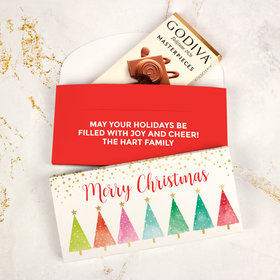 Deluxe Personalized Bonnie Marcus Christmas Shimmering Pines Godiva Chocolate Bar in Gift Box