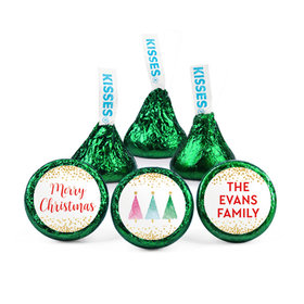 Personalized Bonnie Marcus Christmas Shimmering Pines Hershey's Kisses (50 pack)