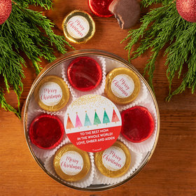 Personalized Christmas Shimmering Pines Large Plastic Tin with 8 Chocolate Covered Oreo Cookies
