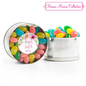 Personalized Easter Pink Flowers Spring Mix Jelly Beans Small Plastic Tin