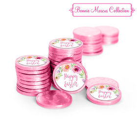 Bonnie Marcus Collection Easter Pink Flowers Chocolate Coins with Stickers (72 Pack)