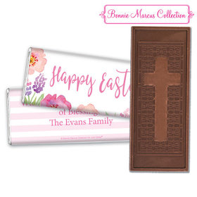 Bonnie Marcus Collection Easter Pink Flowers Embossed Chocolate Bar & Wrapper