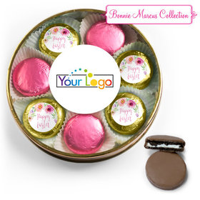 Add Your Logo Easter Pink Flowers Chocolate Covered Oreo Cookies Large Plastic Tin