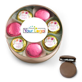 Add Your Logo Easter Pink Flowers Chocolate Covered Oreo Cookies Extra-Large Plastic Tin
