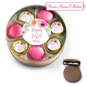 Personalized Easter Pink Flowers Belgian Chocolate Covered Oreo Cookies Extra-Large Plastic Tin