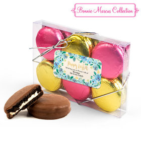 Personalized Bonnie Marcus Easter Blue Flowers 6PK Gold & Pink Belgian Chocolate Covered Oreo Cookies