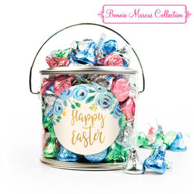 Easter Blue Flowers Silver Paint Can with Sticker - 1lb Spring Mix Kisses