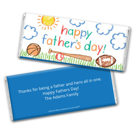 Personalized Bonnie Marcus Collection Father's Day Sports Chocolate Bar Wrappers