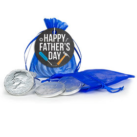 Bonnie Marcus Father's Day Tools Milk Chocolate Coins in Organza Bags with Gift Tag