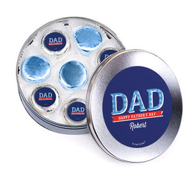 Bonnie Marcus Collection Personalized Father's Day Silver Tin with 16 Chocolate Covered Oreo Cookies