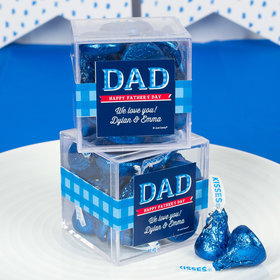 Personalized Father's Day Plaid JUST CANDY® favor cube with Hershey's Kisses